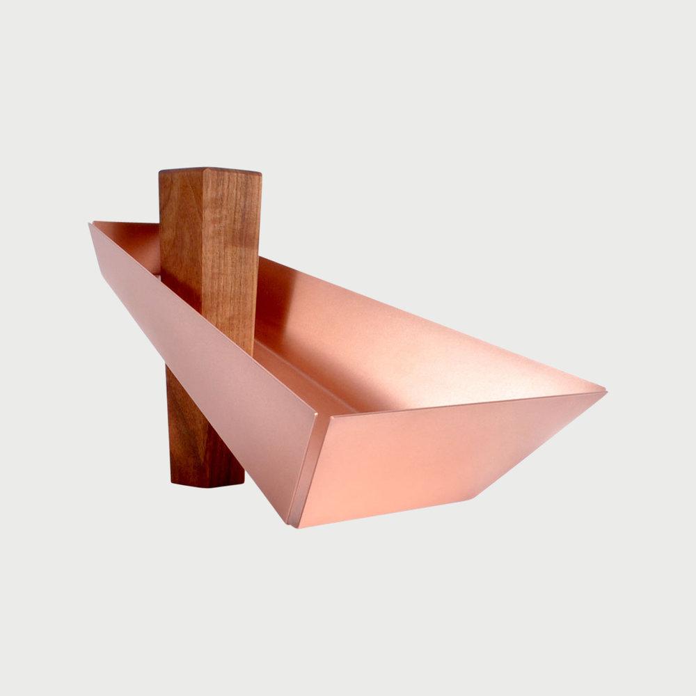 Margo Pedestal Tray Walnut & Copper