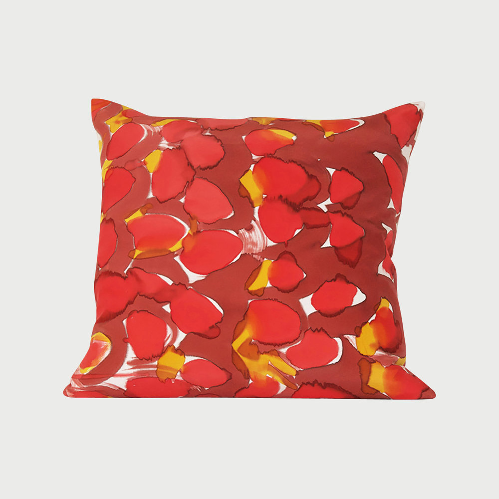 Copy of Hand Painted Red Scales Silk Charmeuse Pillow Square