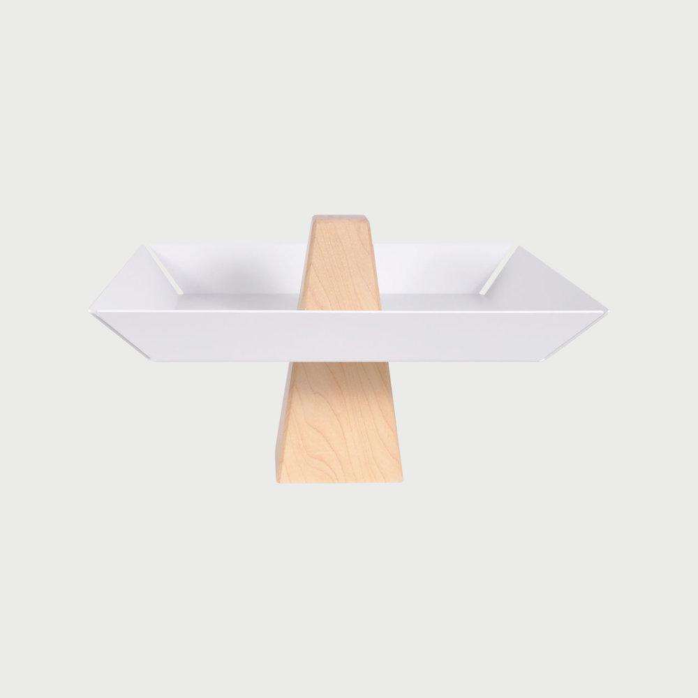 Ansel Pedestal Tray Maple & White