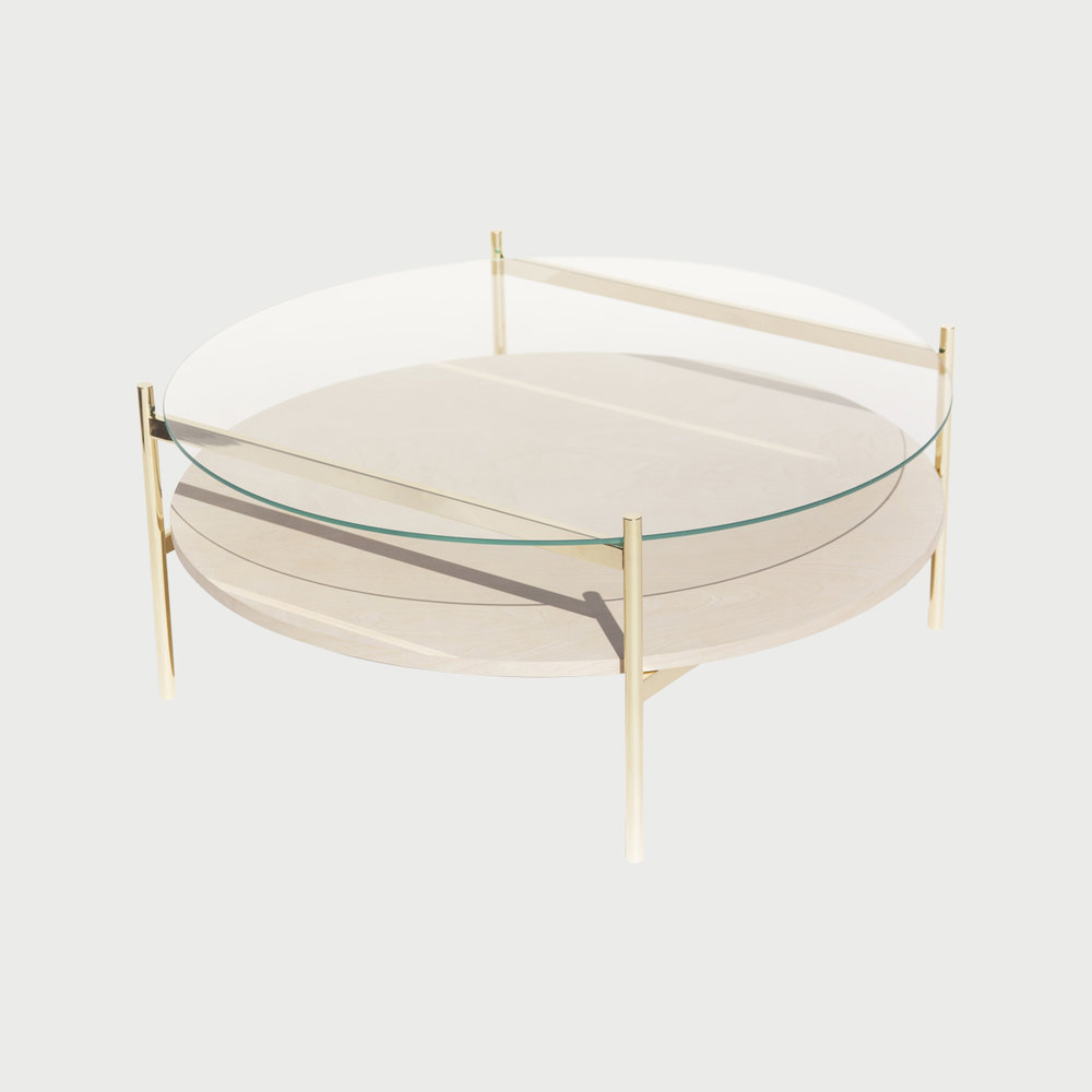 Duotone Circular Coffee Table - Brass / Clear / Birch