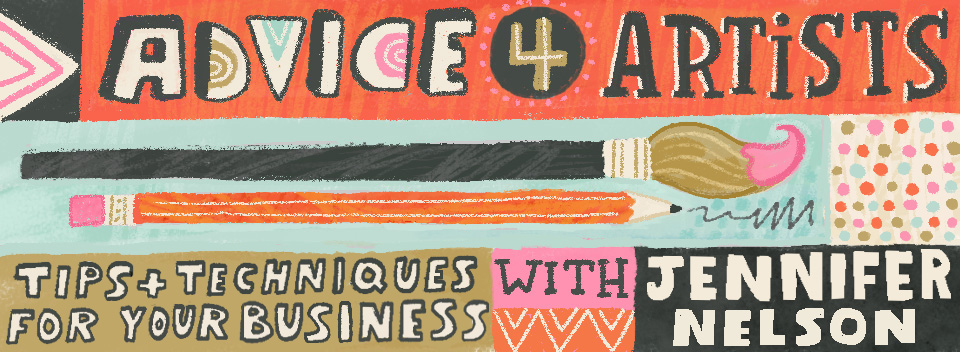 Advice for Artists banner + the Prep Talks badge designed by  Lauren Lowen .