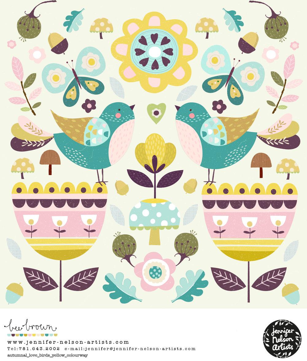 bee_brown_autumnal_lovebirds_yellow_colourway