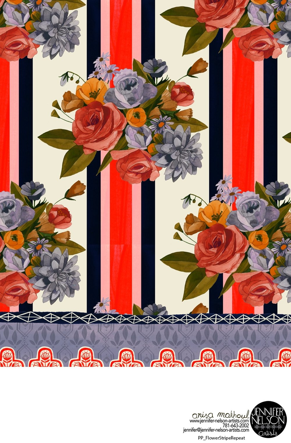 Anisa Makhoul's  dramatic floral stripe available for home decor licensing or purchase.