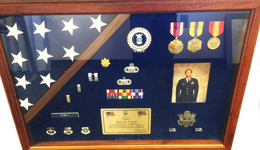 Larry Sewell's retirement shadow box