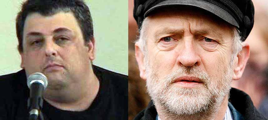 David Hirsh (left) and Jeremy Corbyn (right)