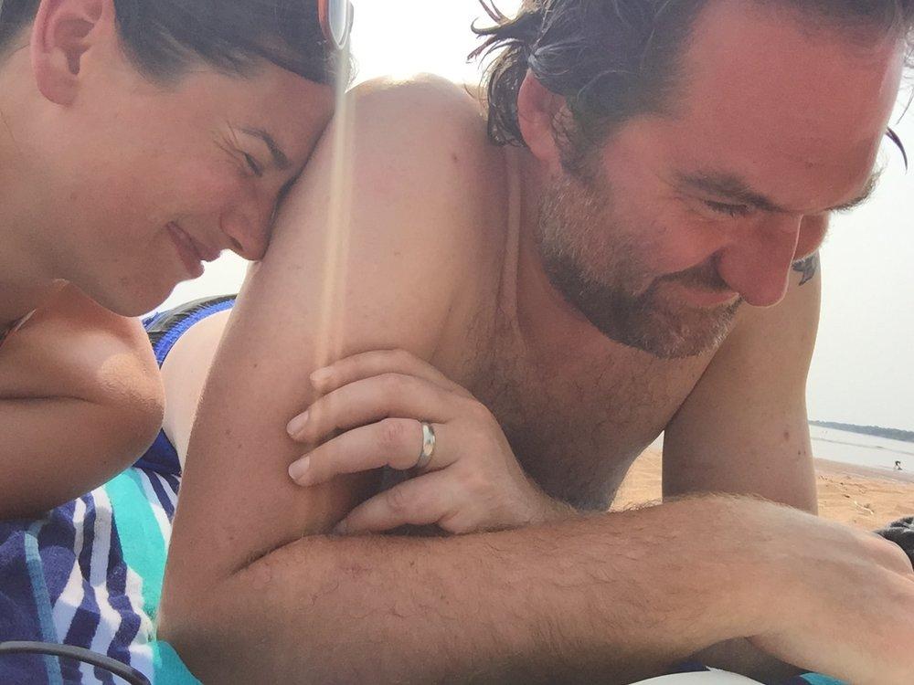 My love, on the beach.