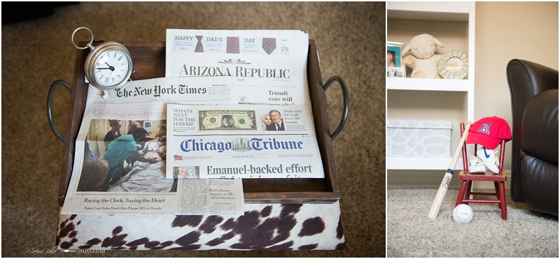 I loved that Casey and John saved newspapers from Teddy's birthday and of course the UofA had to be represented!