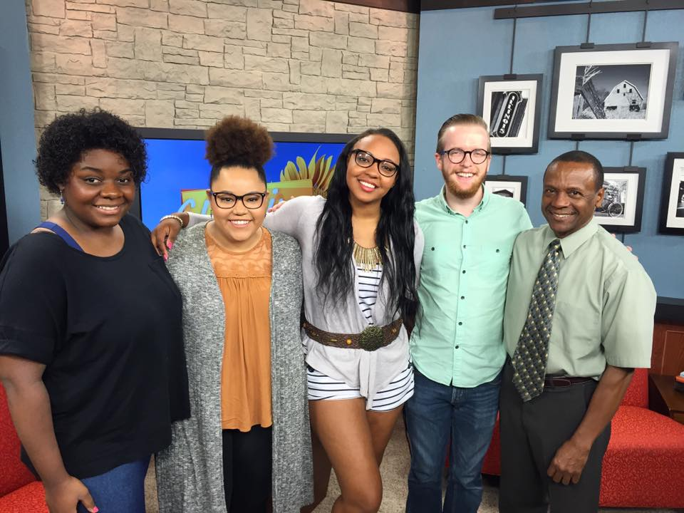 With the Dreams (J'Lyn Hope, Tafadzwa Diener, and Jasmine Dandrige)and Music Director Nathaniel Banks on the set of ciLiving at WCIA in Champaign, IL.