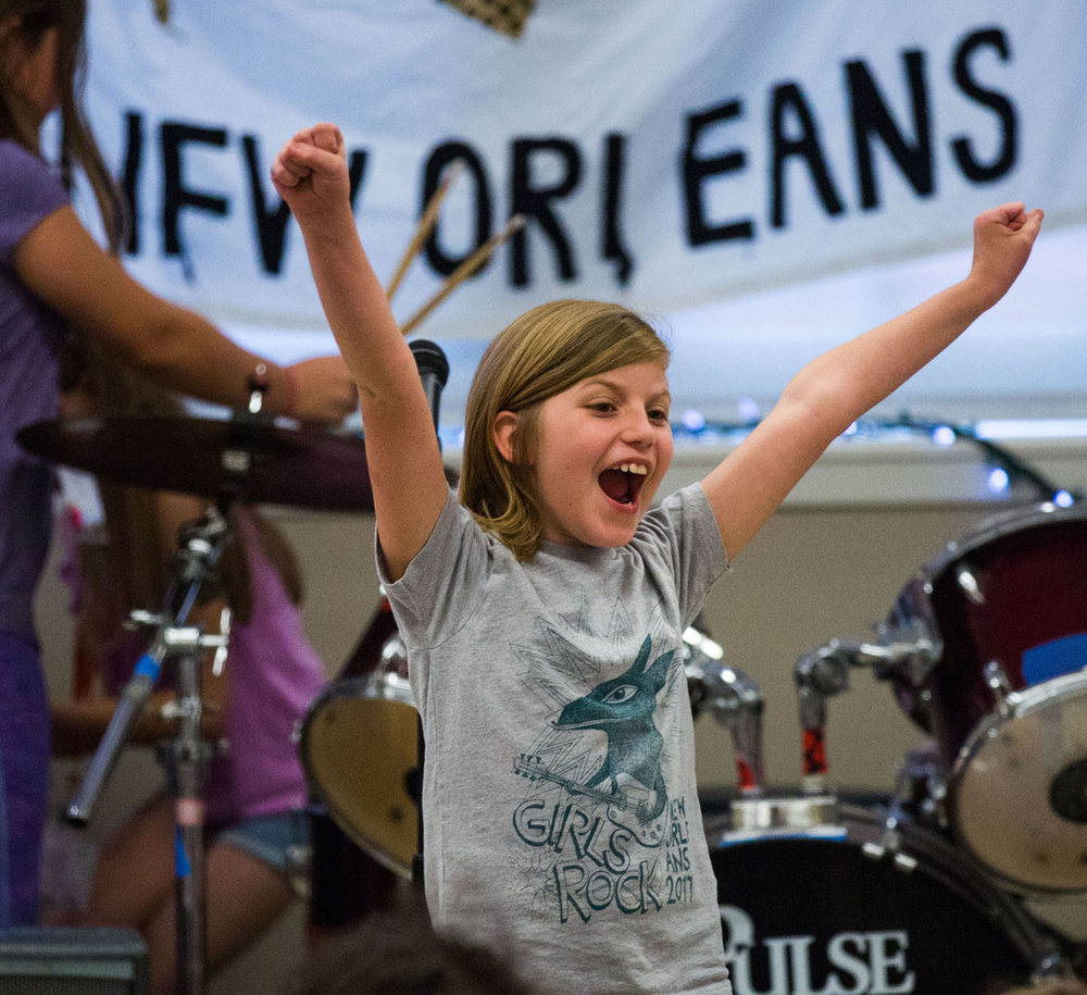 - Homer A. Plessy Community School student, Trinity, rocks out at a recent music performance.