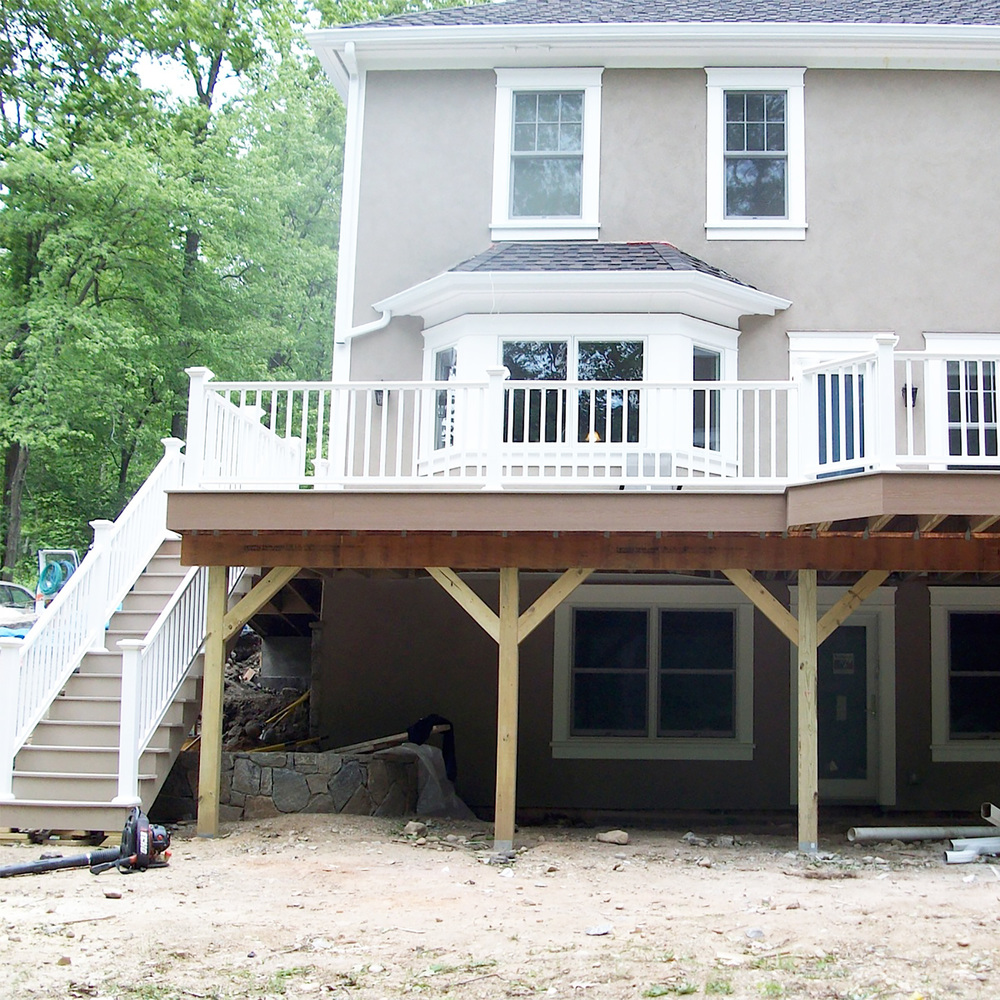 Deck Construction       ·            Footing or Piers   ·            Framing   ·            Install decking   ·            Install trim boards   ·             Install railings   ·             Prime new deck   ·             Paint new deck