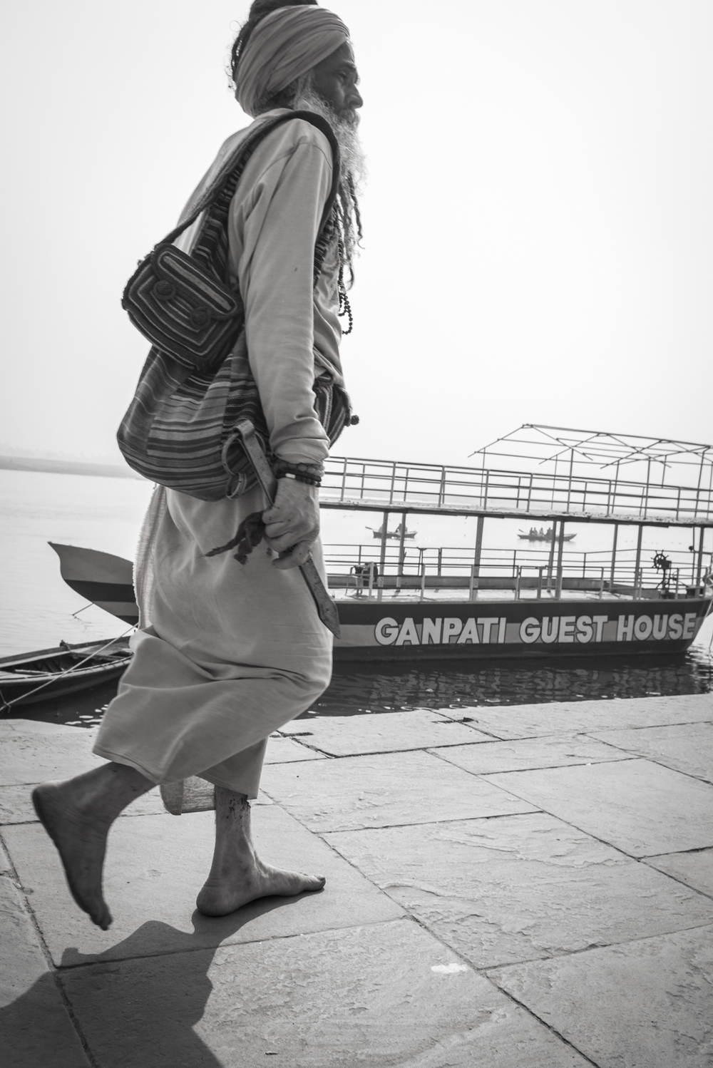 Walking a long the Ganges in Varanasi.