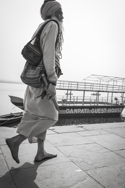 Walking a long the Ganges in Varanasi.