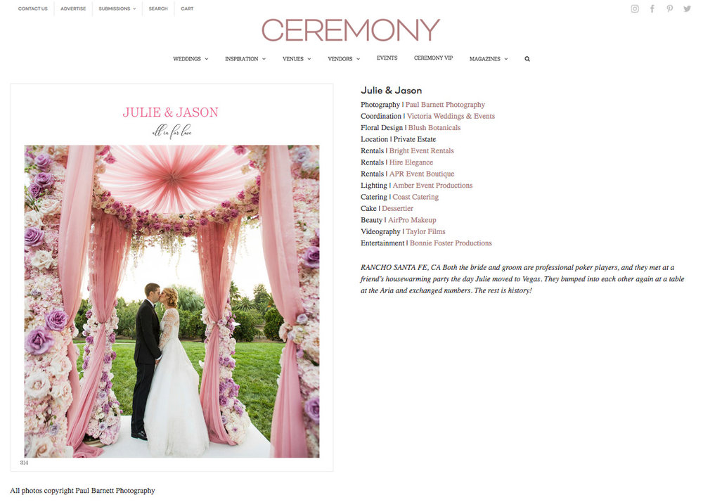 Ceremony Magazine. Julie and Jason