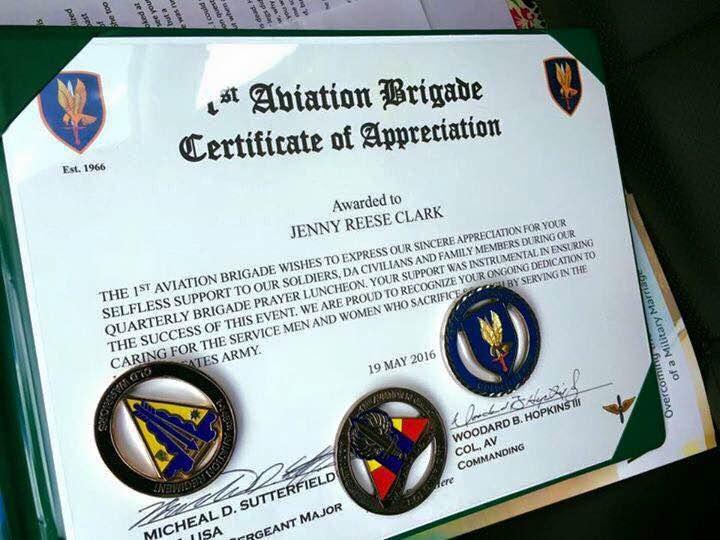 Certificate of Appreciation- 1st Aviation Brigade, Fort Rucker