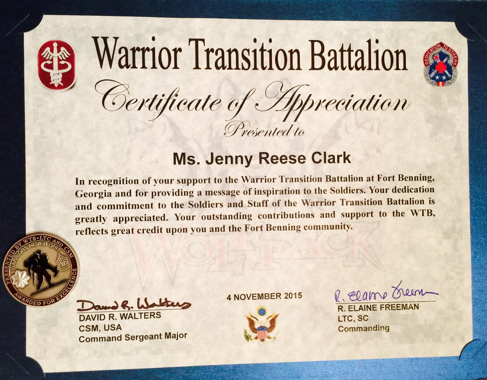 Certification from Warrior Transitional Battalion- Fort Benning, GA ARMY