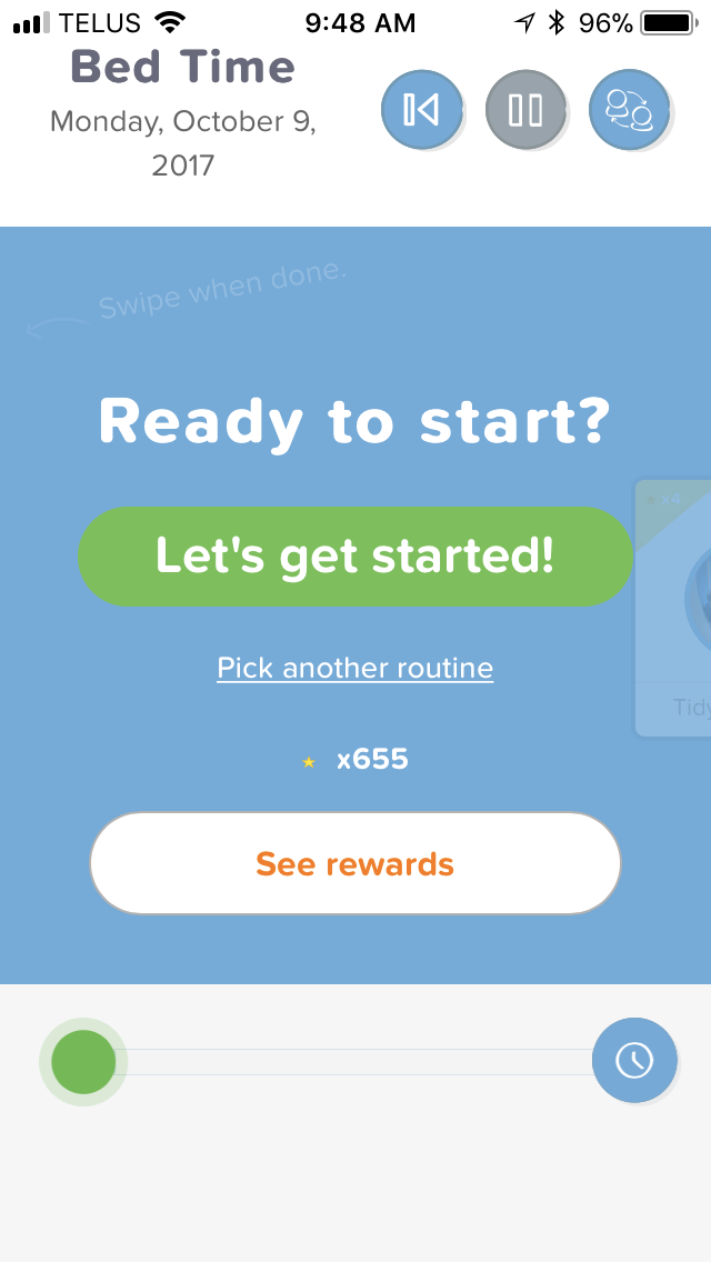 "There's a new ""See Rewards"" button on Kid Mode screens when there is no routine running."