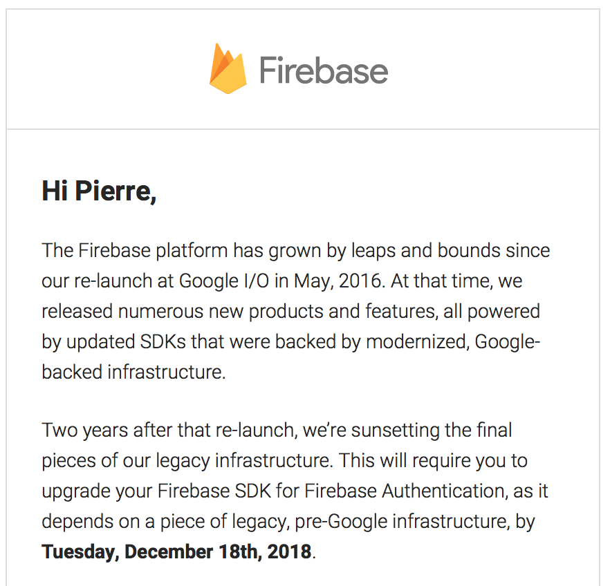 Excerpt from Google's announcement email.
