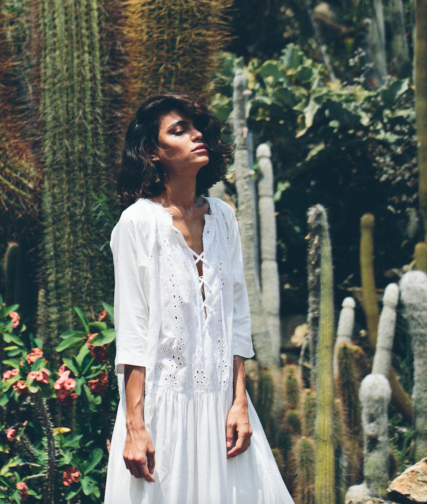 The Embroidered White Lace Up Dress