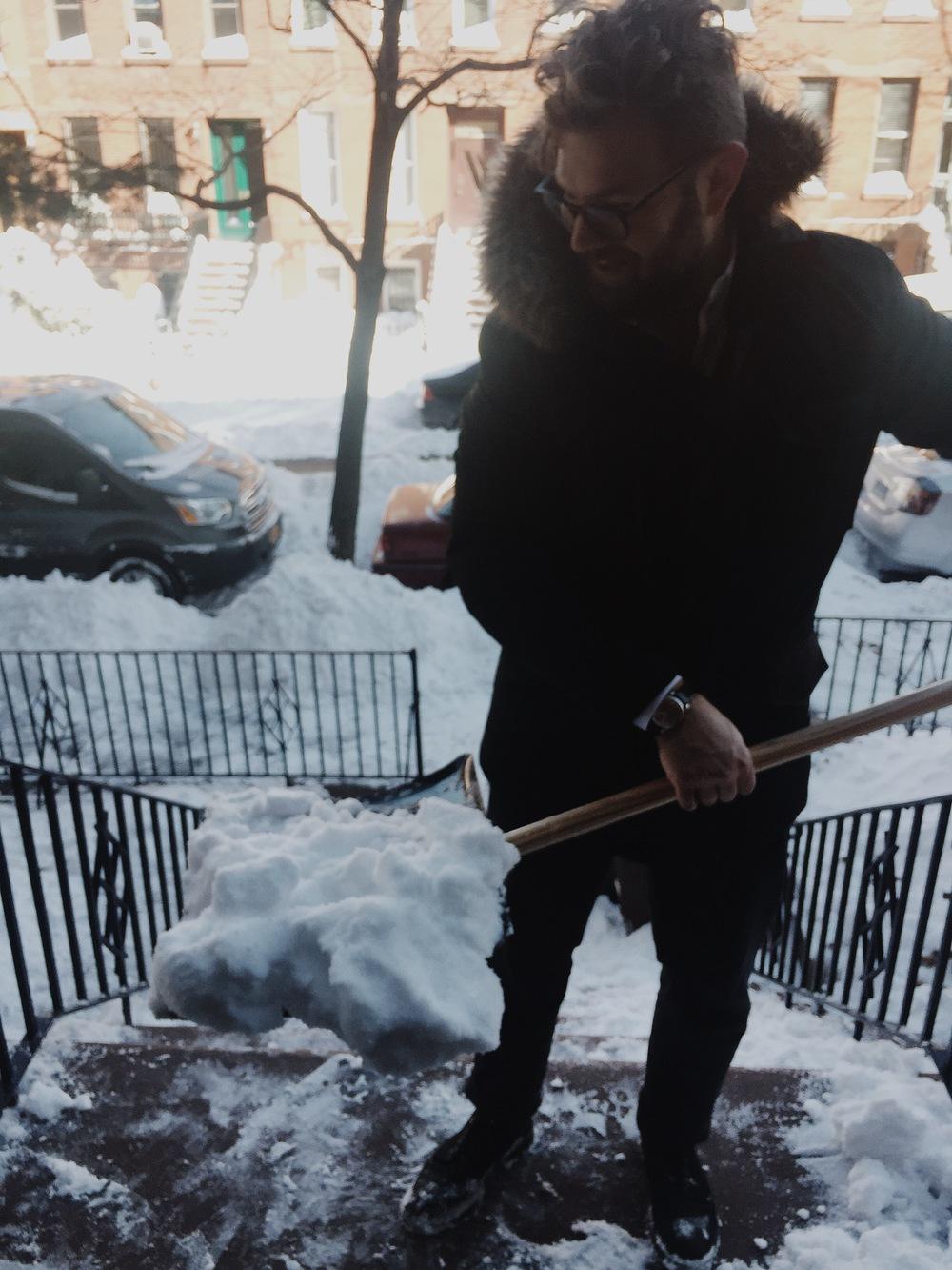 isaac shovelling snow