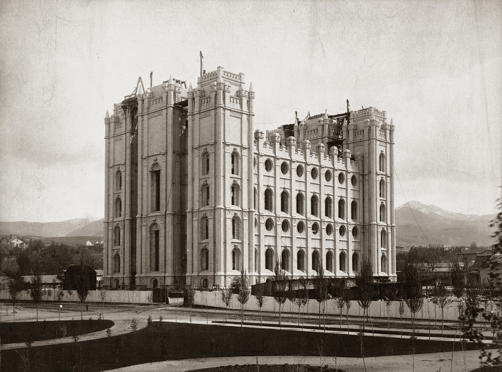 The Salt Lake Temple under construction.