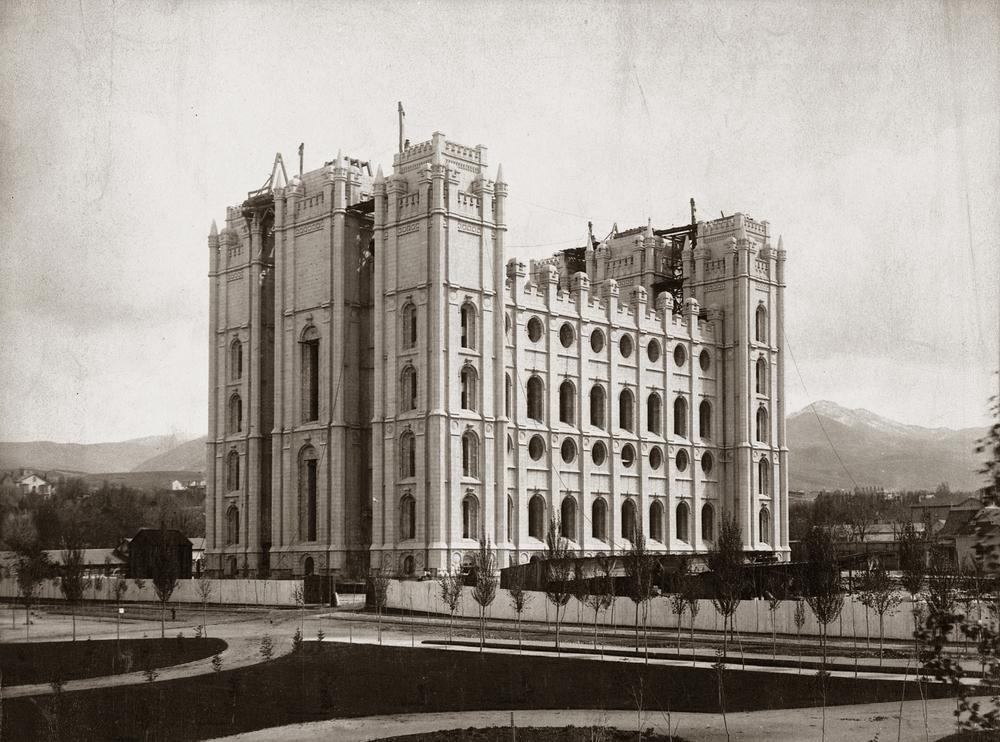 The Salt Lake Temple under construction.