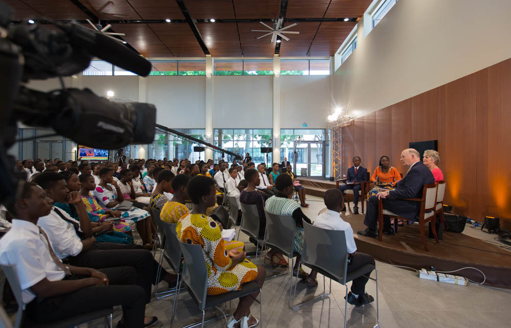 The broadcast was recorded in the cafeteria of the new Missionary Training Center.