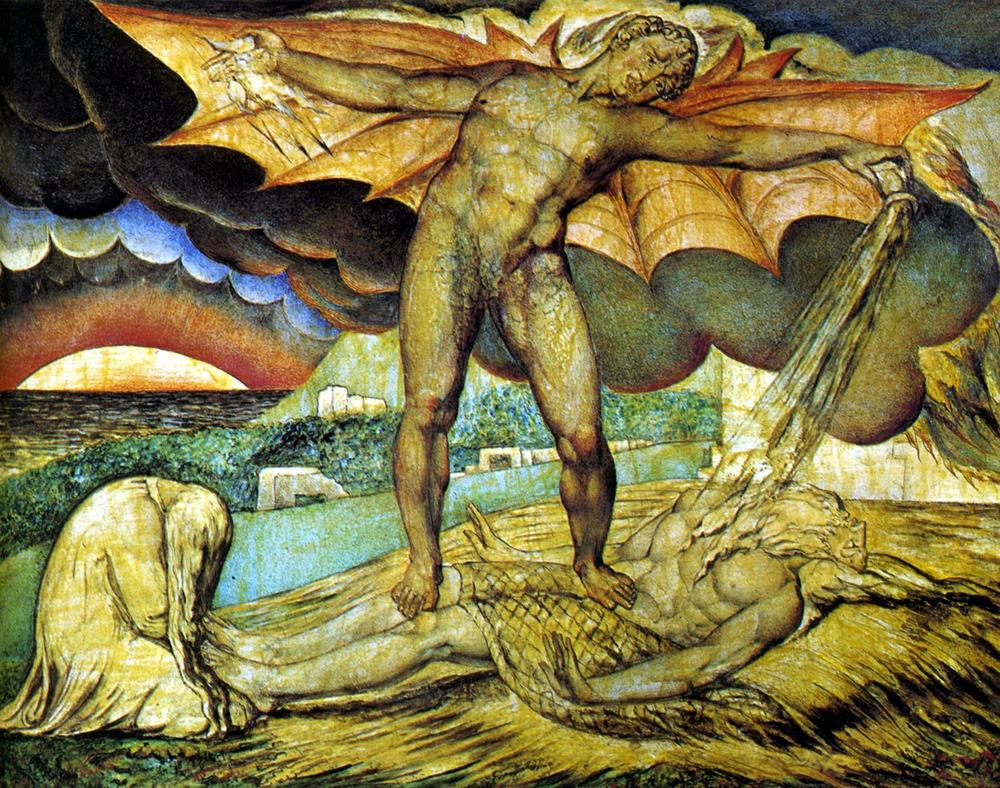 William Blake, Satanás castiga a Job con llagas en fuego, 1826