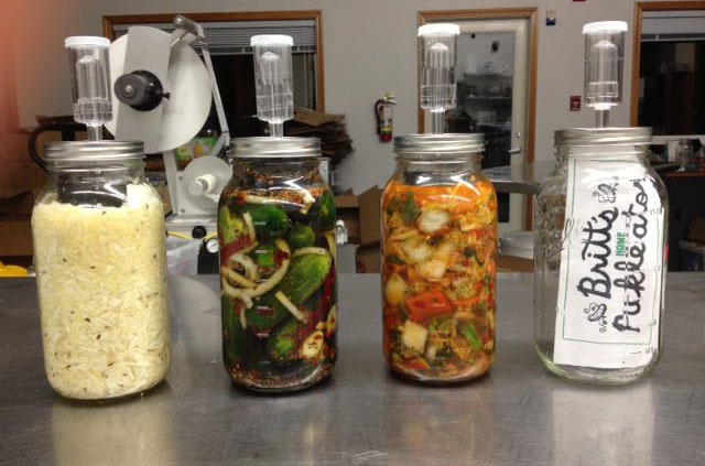 The Pickle-ator with (from left) kraut, pickles, and kimchi