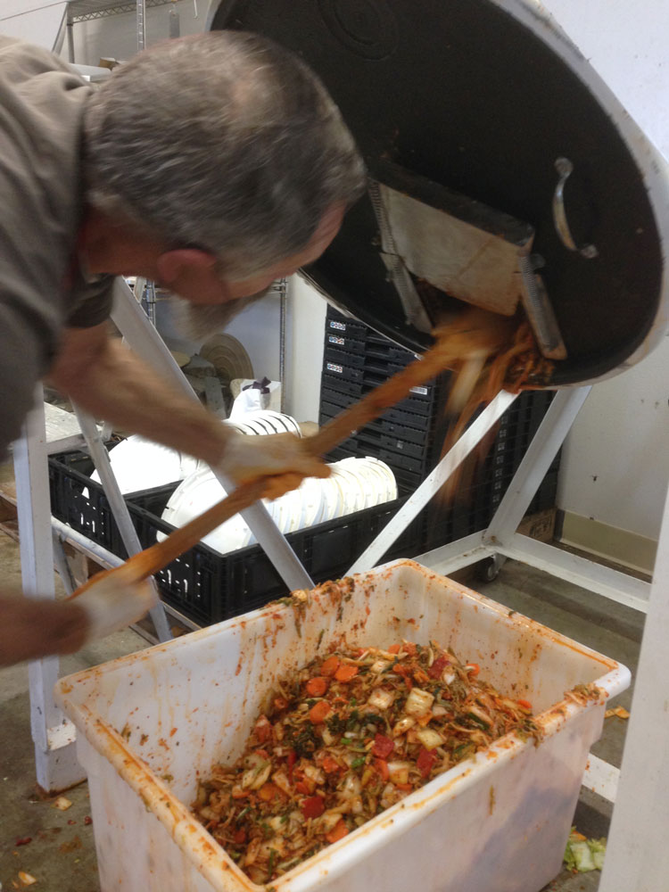 moving the kimchi from the mixer...