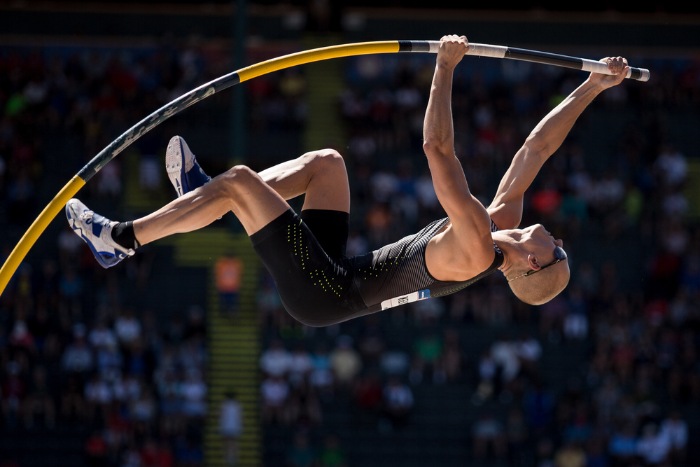 Sam Kendricks, pole vault, Ole Miss alum and Olympic qualifier.  Photo by Dillon Vibes.