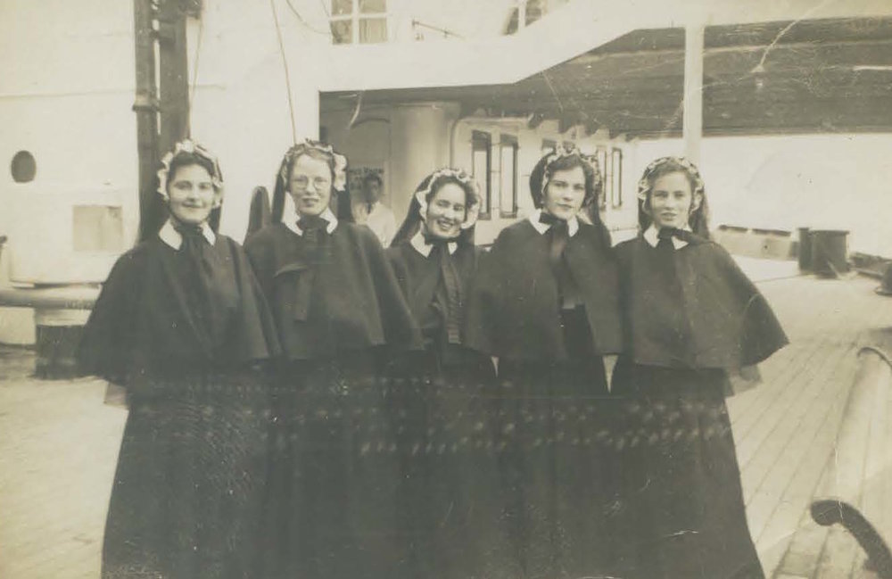 From left to right: Mary J. Healy (19), Bridey McHough (17), Bridget Cunningham (17), Josephine Murray (18), Mary Carr (16).