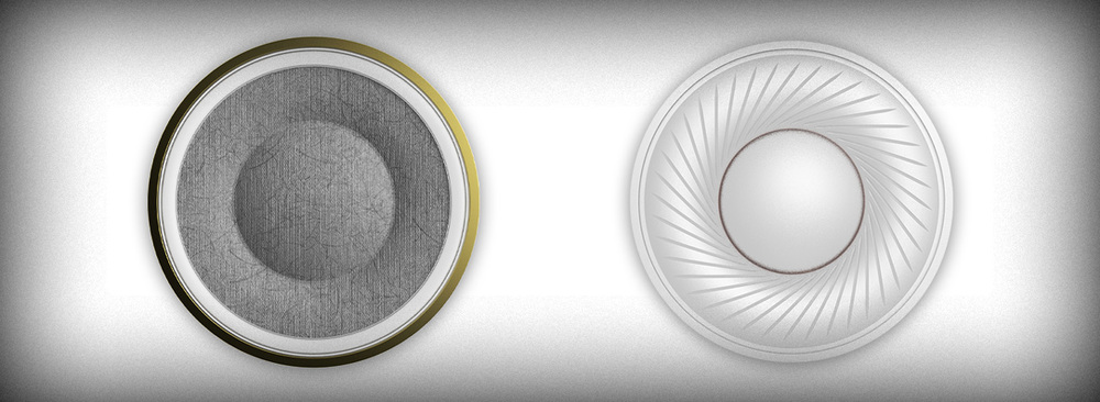 NightHawk's rigid bio-cellulose driver diaphragm with rubber surround (left) compared to a typical diaphragm (right) made frominherently unstableMylar plastic with nosurround.