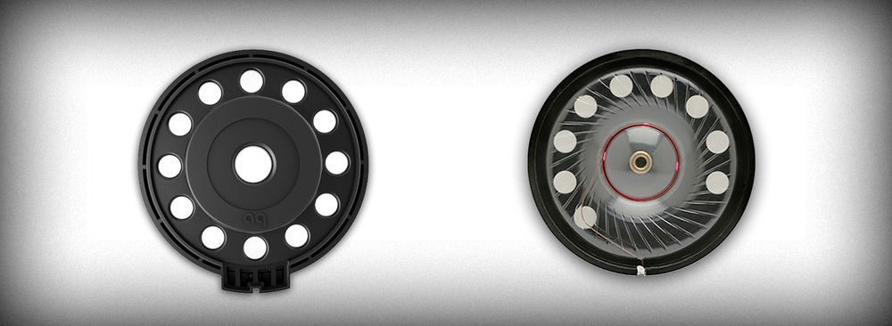 NightHawk's driver baskets (left) are fully ventilated around the perimeter of the diaphragm area for reduced distortion. Typical driver baskets (right) have blocked vent sections that cause the diaphragm and voice-coil to rock, increasing low-frequency distortion.