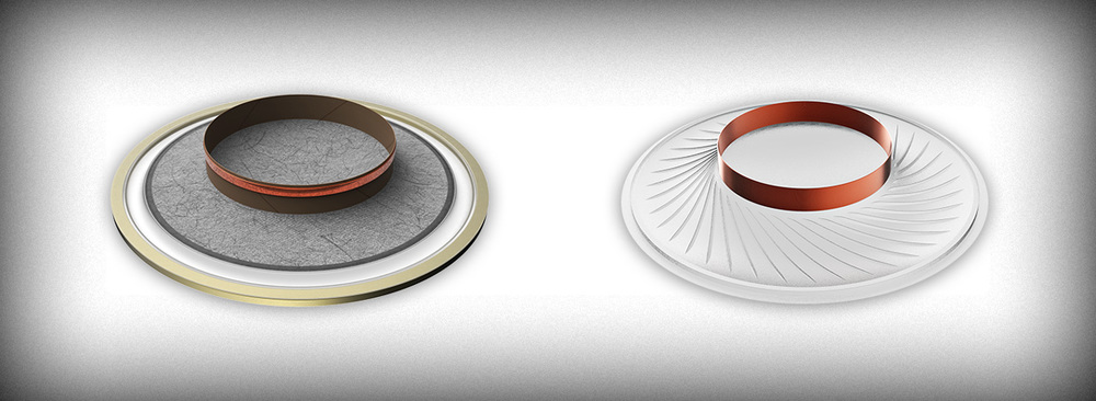 NightHawk's voice-coil assembly (left) includes a stiff former. Typical driverdesigns (right) leavethe voice-coil unsupported and unpositionable, forcing the use ofmotor configurations with higher distortion.