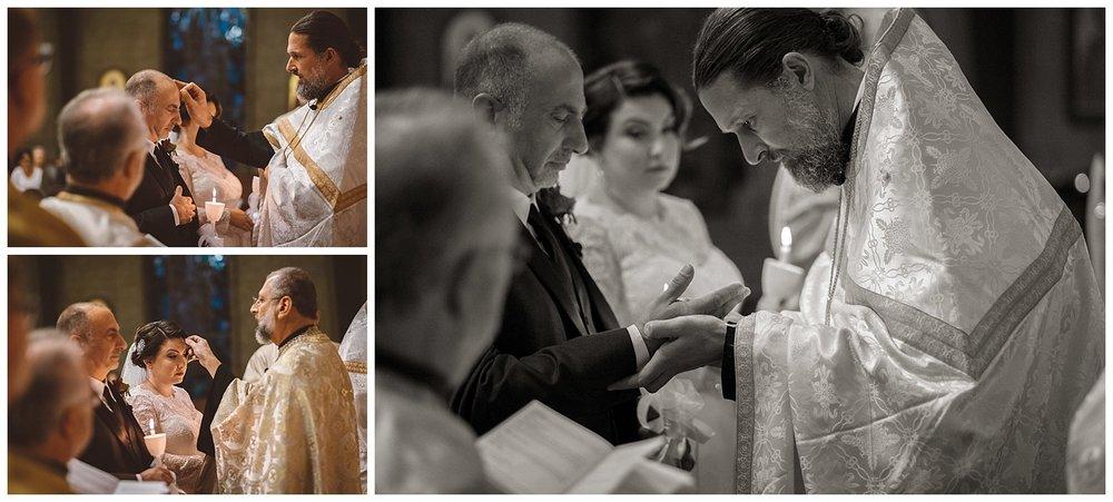 Fr. Josiah Trenham places ring on Groom's hand