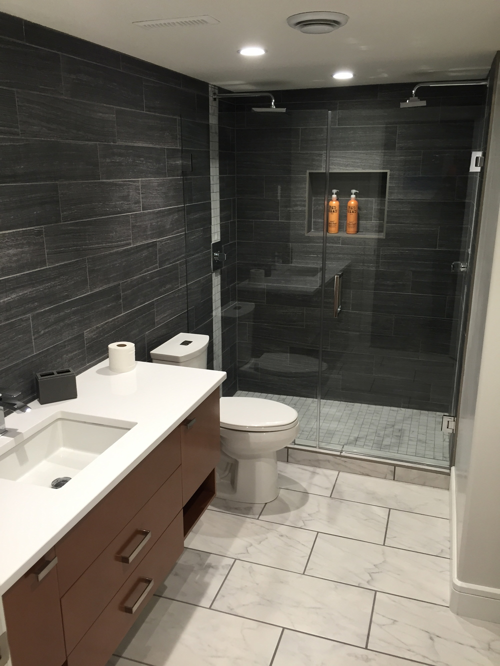 Basement renovation Saskatoon, Custom Bathroom, Tile.