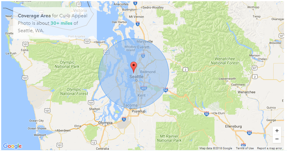 Huge Coverage Area - No zip code fees. The only travel fees are to cover ferry charges or distances farther than 30 miles from Seattle.