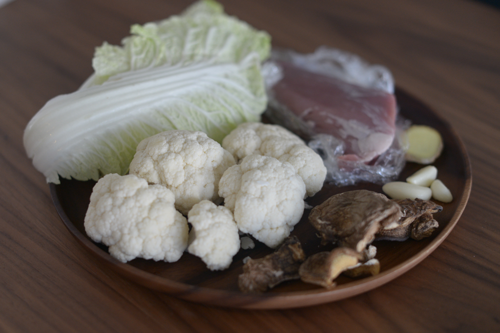 Ingredients I used for the soup - cauliflower, nappa cabbage, pork tenderloin, ginger, garlic, and dried mushrooms