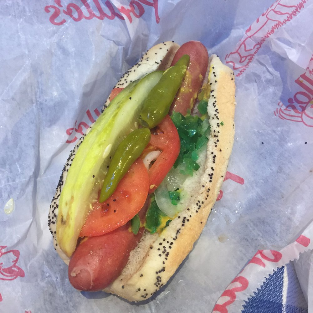 This is a CHICAGO DOG.  See the LIME green relish? I only had half the hotdog meat, didn't eat the toppings sadly.