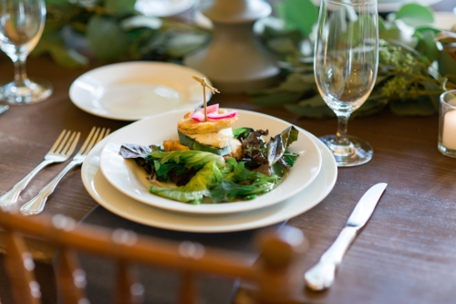 Delicious plated salad by Roadside Chive from Brittany and Joe's wedding at Keswick Vineyard. Photo by Katie Lea Photography.