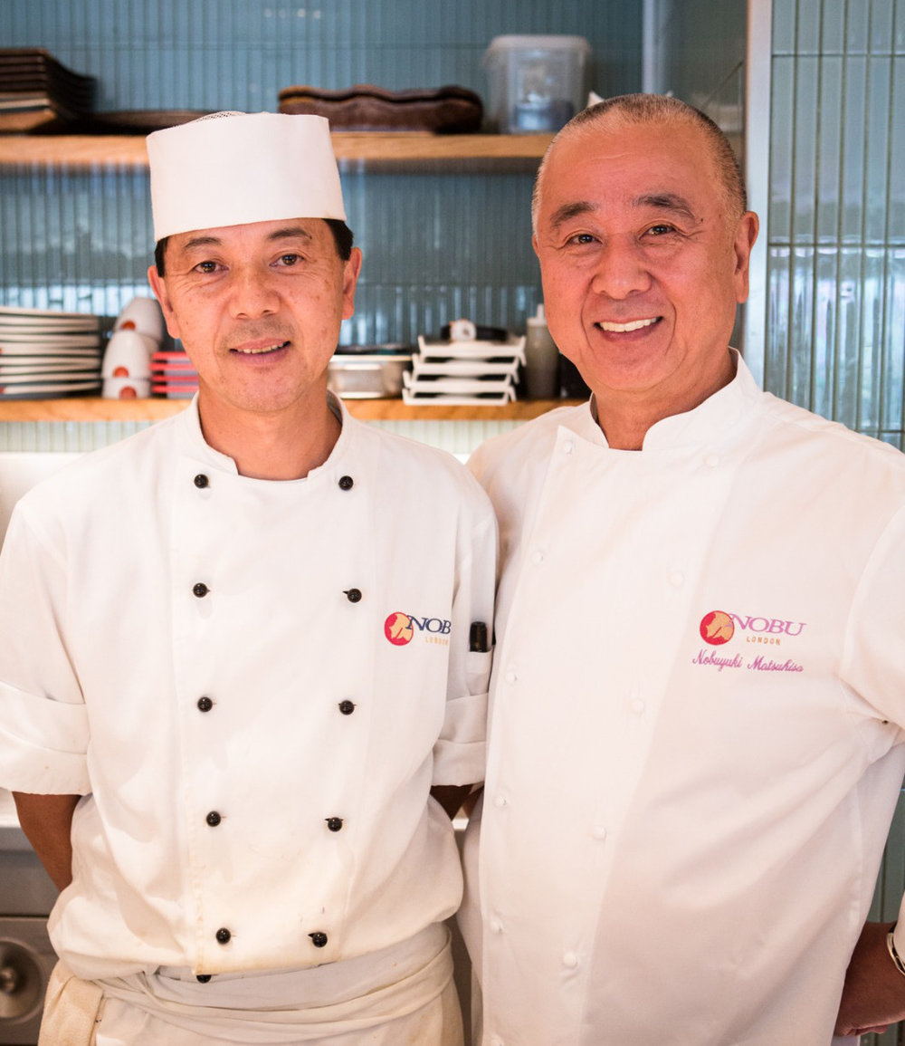 Executive Sushi Chef Masaru Okayama with Chef Nobu Matsuhisa. Photo courtesy of Chef Okayama