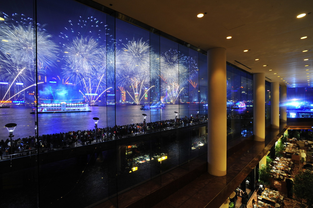 The breathtaking fireworks display over Victoria Harbor in Hong Kong. Photo Courtesy of InterContinental Hong Kong