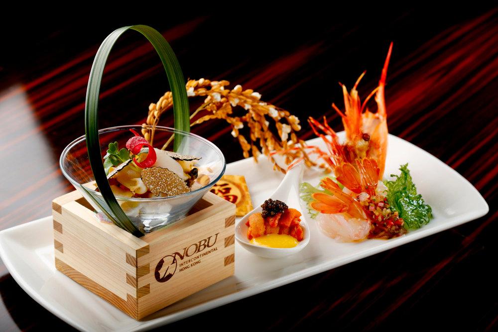 An elegant display of Botan Ebi, Uni Sashimi, Awabi Caviar, Truffle and Tamago Sauce. Photo Courtesy of InterContinental Hong Kong