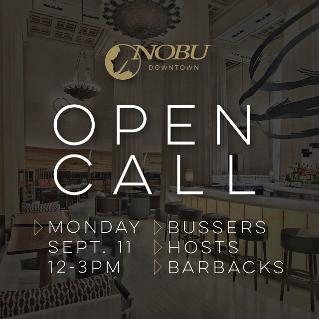 Are you ready to join the best in the business? #nobudowntown is hiring #bussers #hosts #barbacks. Get your resumes ready, but leave your headshots behind for our #opencall on Monday. Check out our Facebook page for details. #nycrestaurants