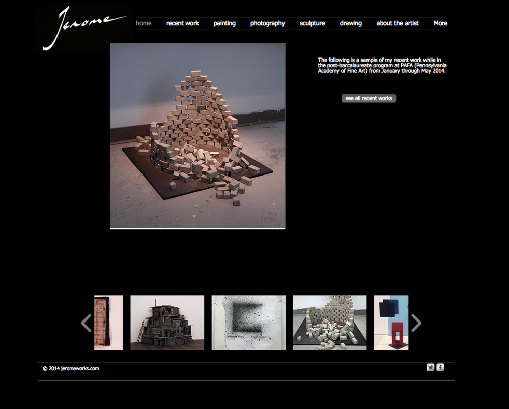 Client wanted to completely re-vamp site to announce new work.