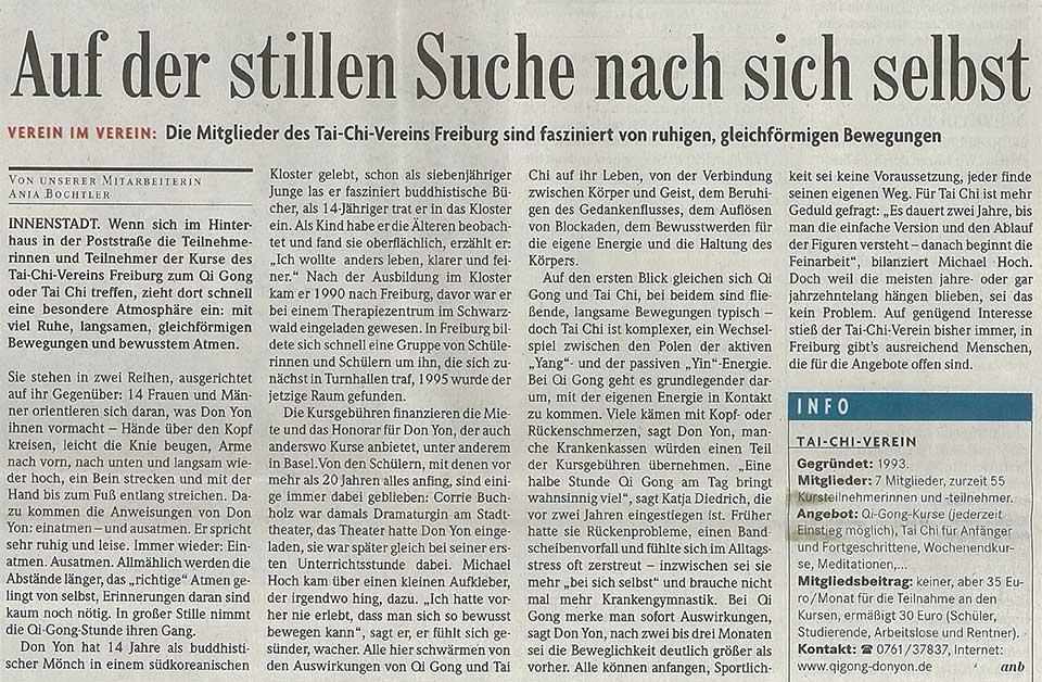 Veröffentlicht in der Badischen Zeitung 2014