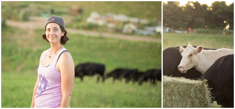 "This is my official ""Holy crap I'm in a field with beautiful cows!"" face! Also, fun fact, I wear a backwards baseball cap to almost all of my sessions because it successfully keeps the hair out of my face. The cow with its tongue up its nose is just a bonus photo for ya!"