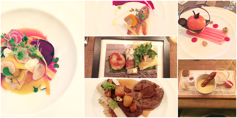 The 6 courses for the evening.