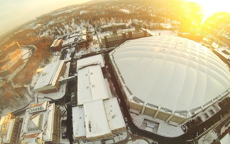 The Carrier Dome in the snow: one of the most iconic images of Syracuse University for me. As graduation begins to approach, the memories of living next to it, shooting sports games and attending games a fan grow stronger in my mind
