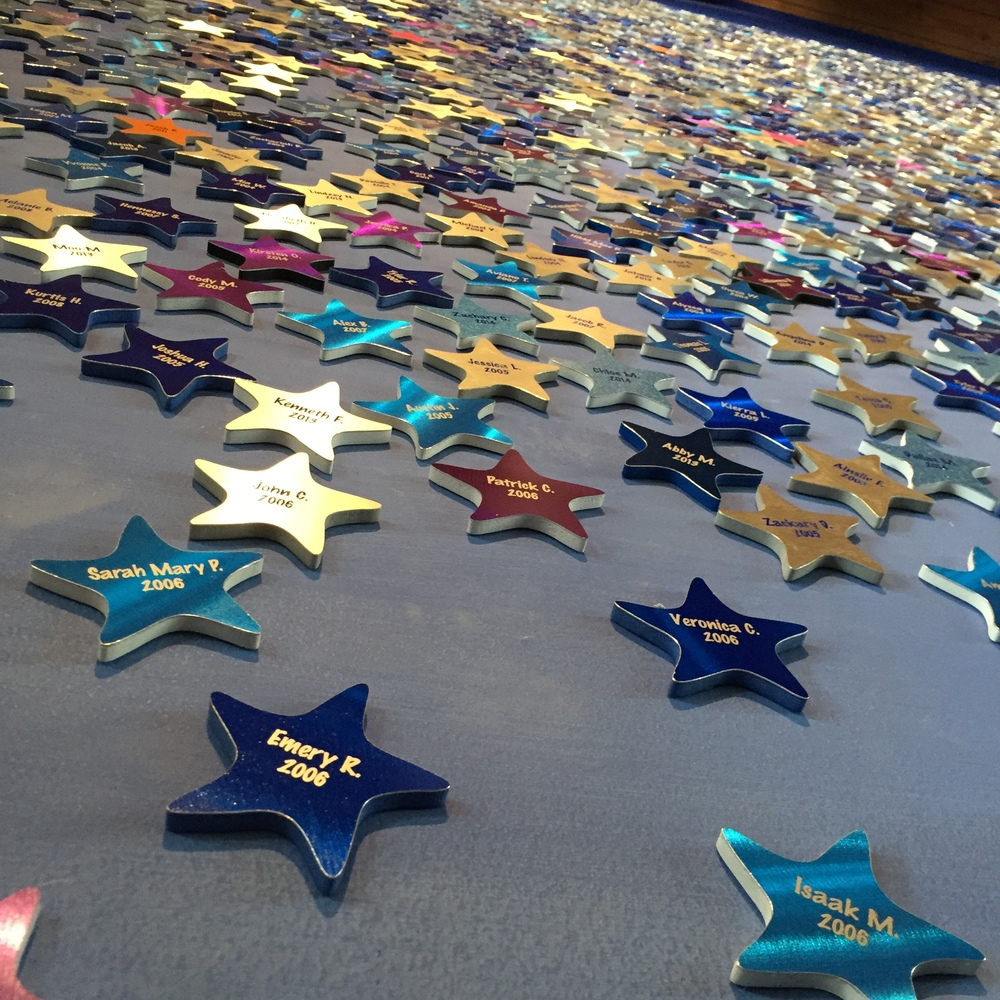 The Wish Wall in the offices...Each star represents a fulfilled wish; totaling in the thousands since this chapter started over 20 years ago
